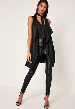 Black Waterfall Tie Neck Sleeveless Waistcoat