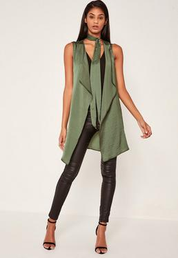 Khaki Waterfall Tie Neck Sleeveless Waistcoat