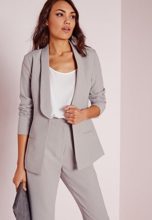 Fitted Tailored Suit Blazer Grey