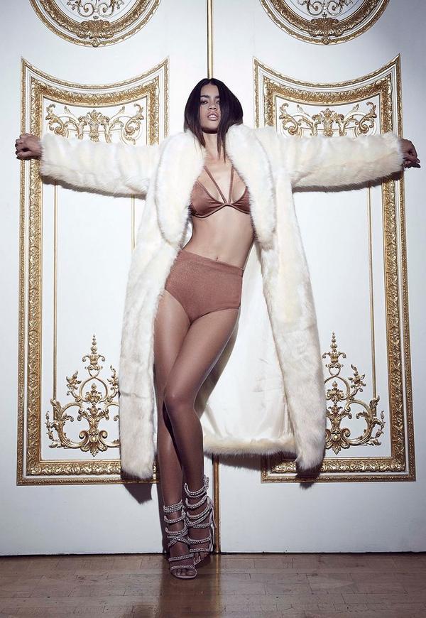 Peace + Love Longline Faux Fur Coat White