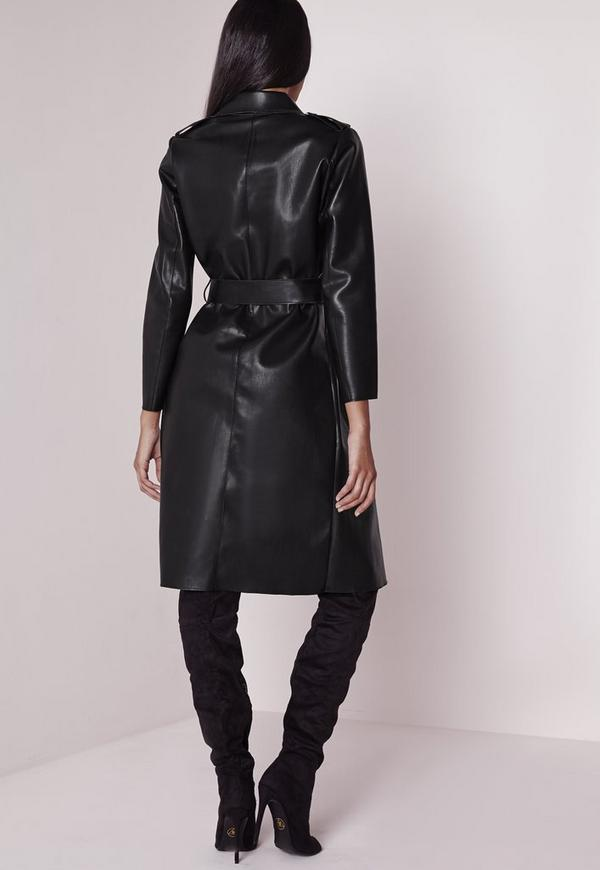 Faux Leather Trench Coat Black | Missguided