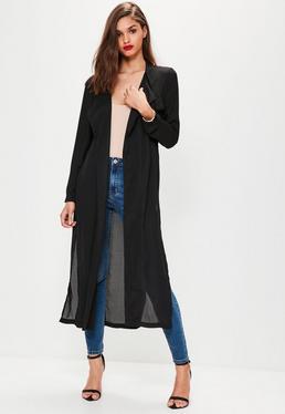 Duster-Mantel aus Chiffon mit geschnürtem Choker-Kragen in Schwarz