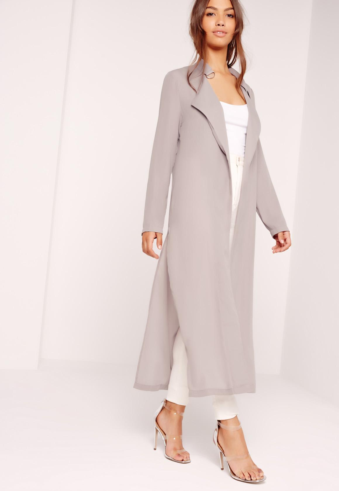 Tie Choker Chiffon Duster Coat Grey | Missguided Ireland