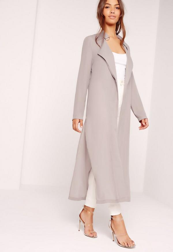 Tie Choker Chiffon Duster Coat Grey