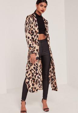 Leopard Print Silky Duster Coat