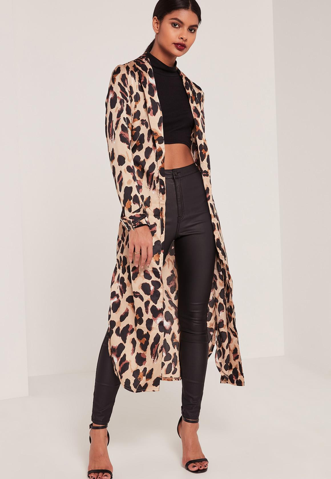 Leopard Print Silky Duster Coat | Missguided