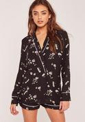 Pyjama Style Floral Blazer Black