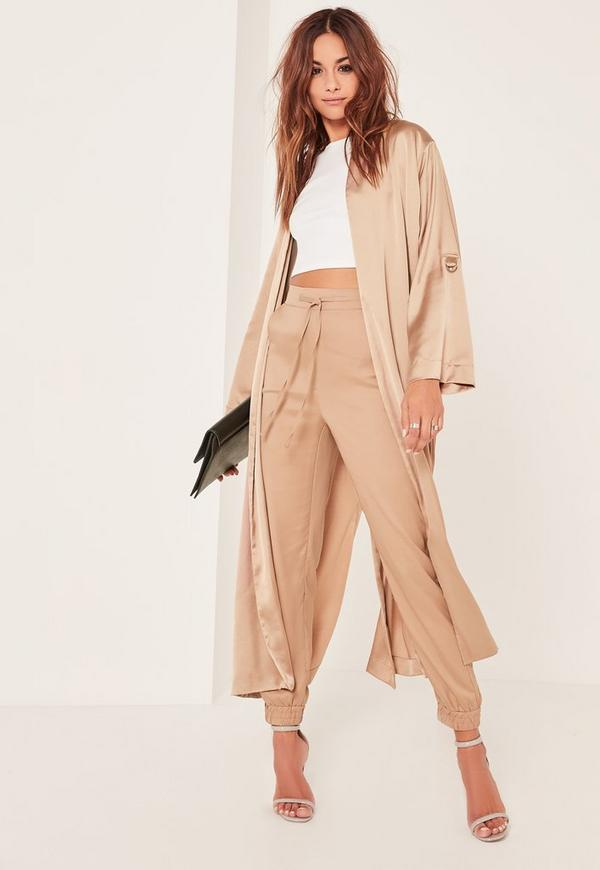 Gold Oversized Satin D Ring Detail Duster Jacket
