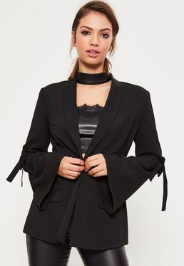 Black Tie Arm Detail Tailored Blazer