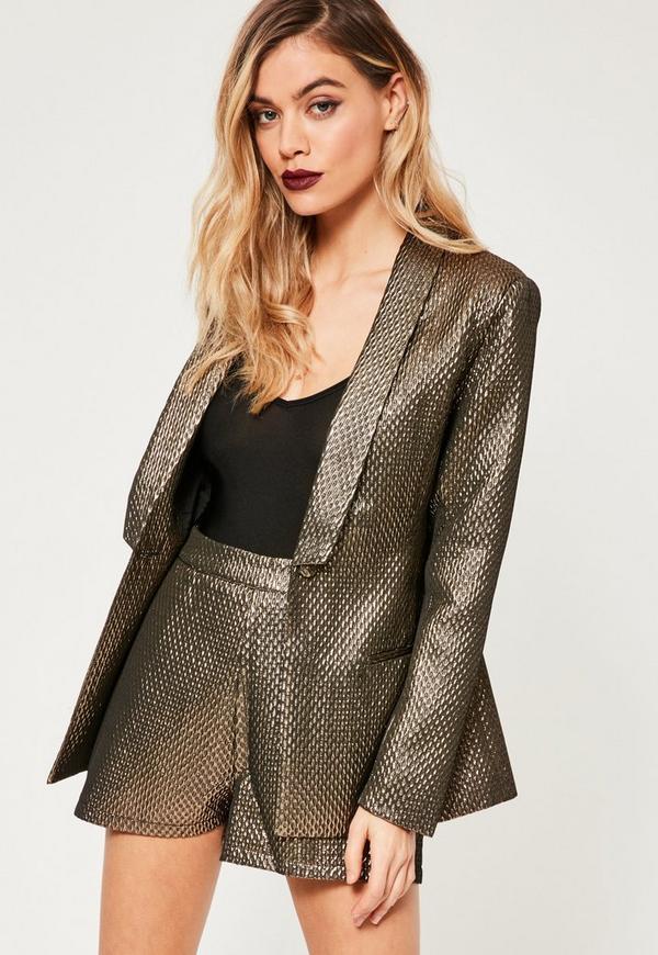 Gold Metallic Textured Blazer