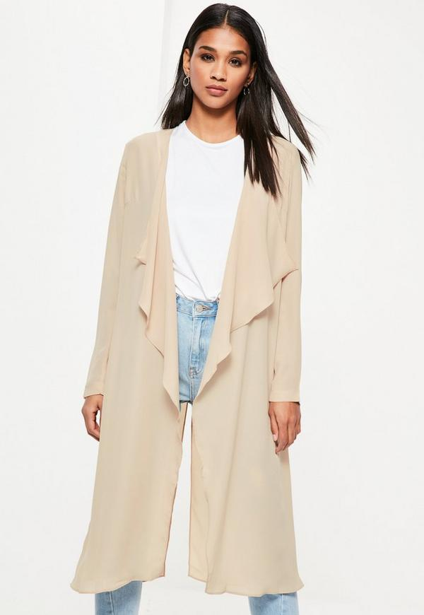 Camel Chiffon Waterfall Duster Jacket