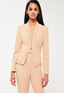 Peace + Love Nude Pleat Detail Tailored Jacket