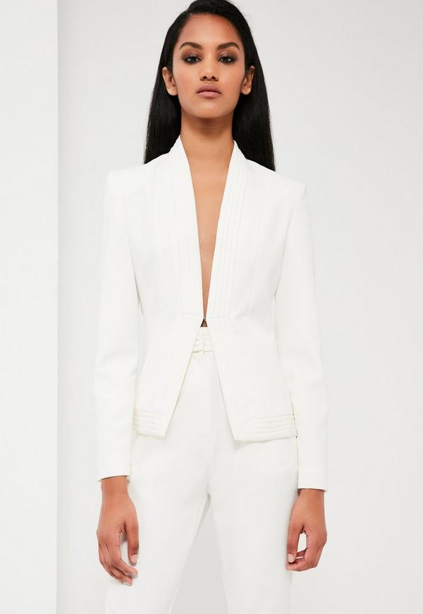 Peace + Love White Pleat Detail Tailored Jacket