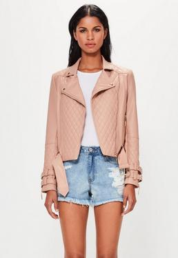 Peace + Love Nude Faux Leather Quilted Biker Jacket