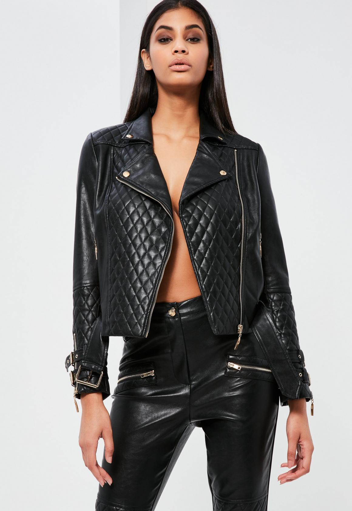 Peace   Love Black Faux Leather Quilted Biker Jacket | Missguided