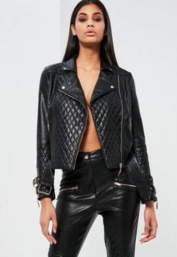 Peace + Love Black Faux Leather Quilted Biker Jacket