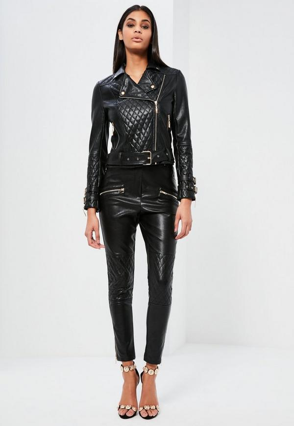 Peace love faux leather jacket black