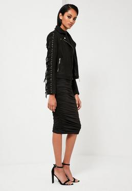 Peace + Love Black Faux Suede Eyelet Biker Jacket