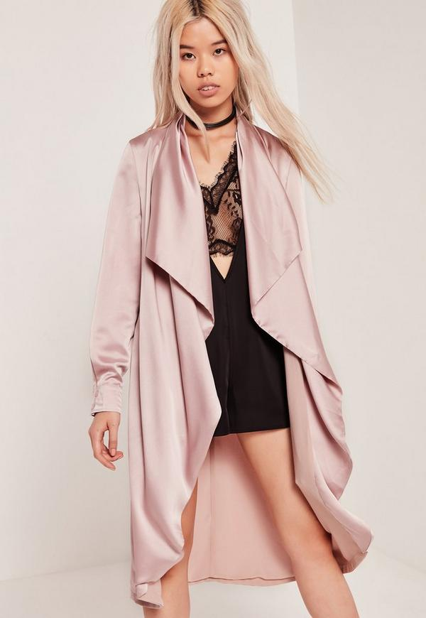 Satin Waterfall Duster Jacket Lilac