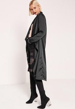 Satin Waterfall Duster Jacket Black