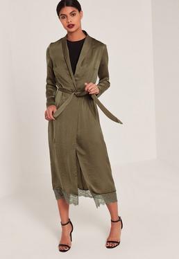 Khaki Lace Hem Silk Duster Coat