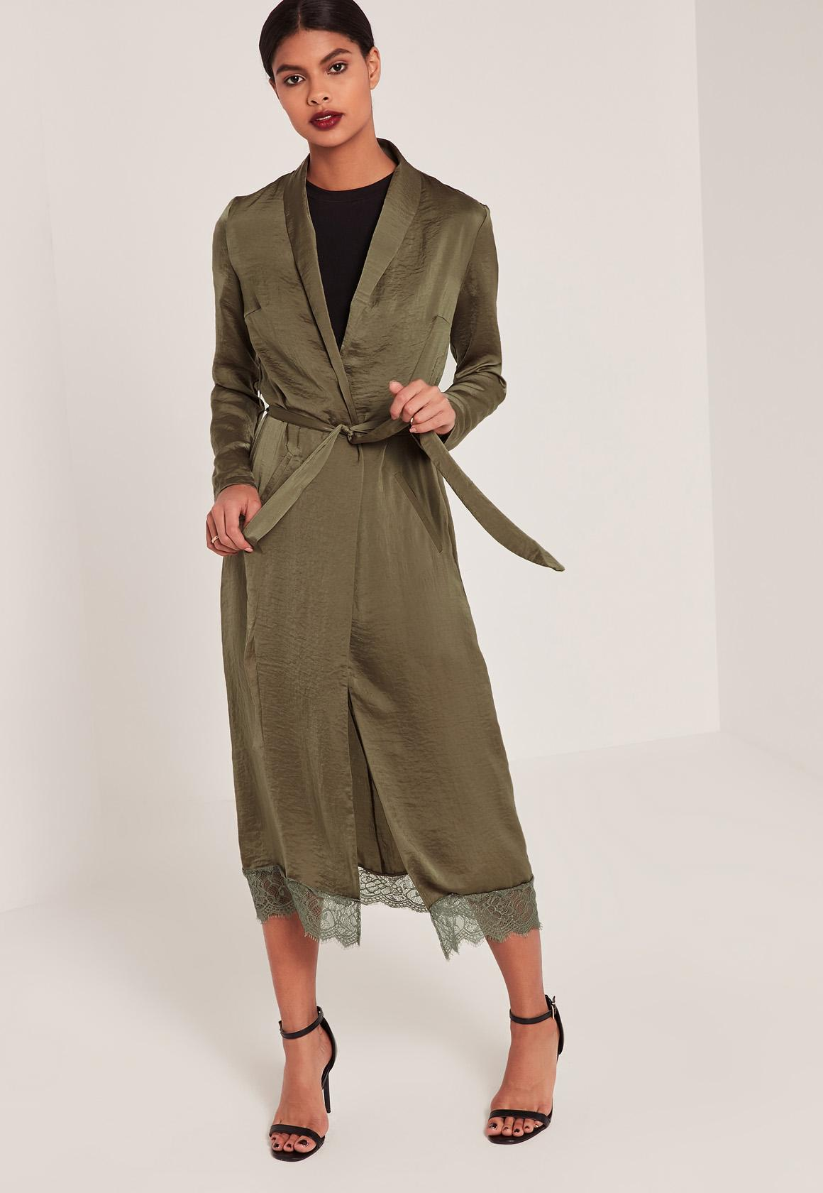 LACE HEM SILK DUSTER | Missguided