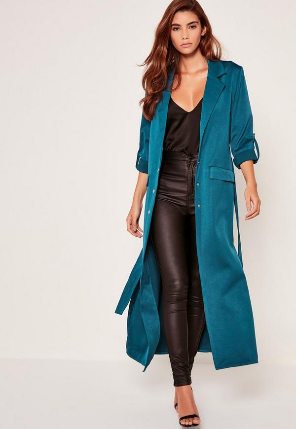 Blue Premium Jet Pocket Tie Waist Duster Coat