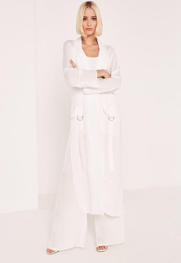 White Parachute Pocket Satin Duster Coat | Missguided