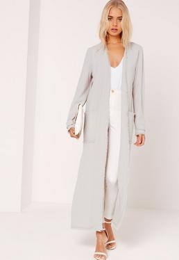 Frayed Hem Duster Coat Grey