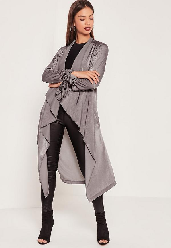 Waterfall Ruched Sleeved Satin Duster Jacket Grey