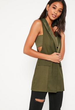 Khaki Thread Through Sleeveless Jacket
