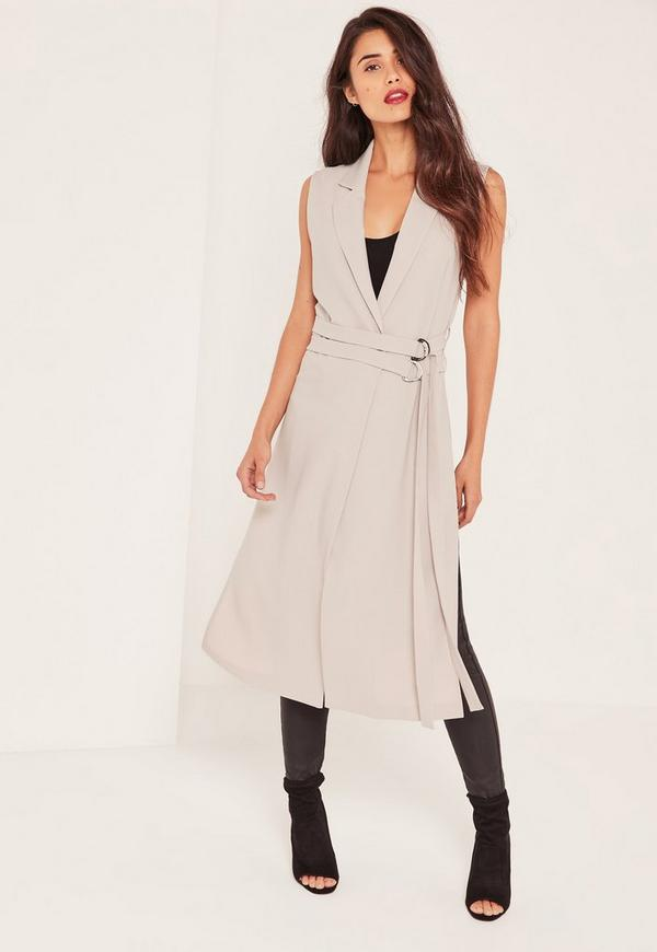 Grey Double Belt Sleeveless Duster Coat