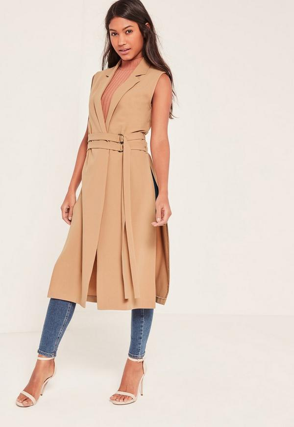 Brown Double Belt Sleeveless Duster Coat