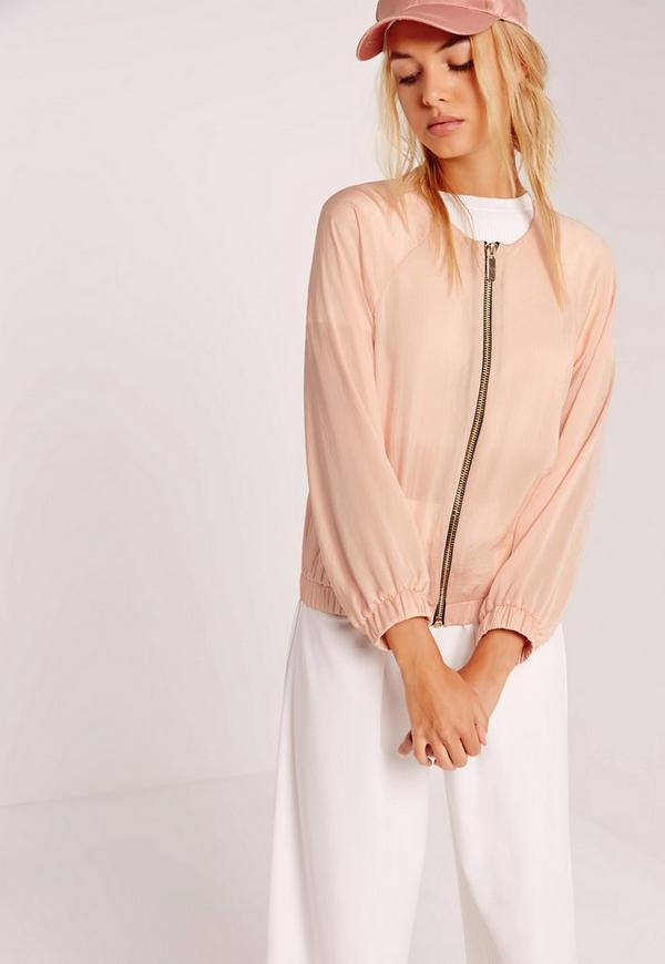Satin Zip Through Bomber Jacket Nude