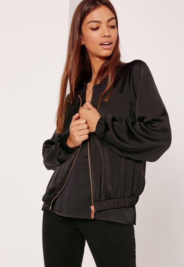 Satin Zip Through Bomber Jacket Black