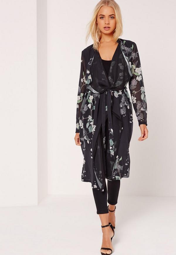 Floral Print Waterfall Duster Jacket Black