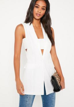 White Thread Through Sleeveless Jacket