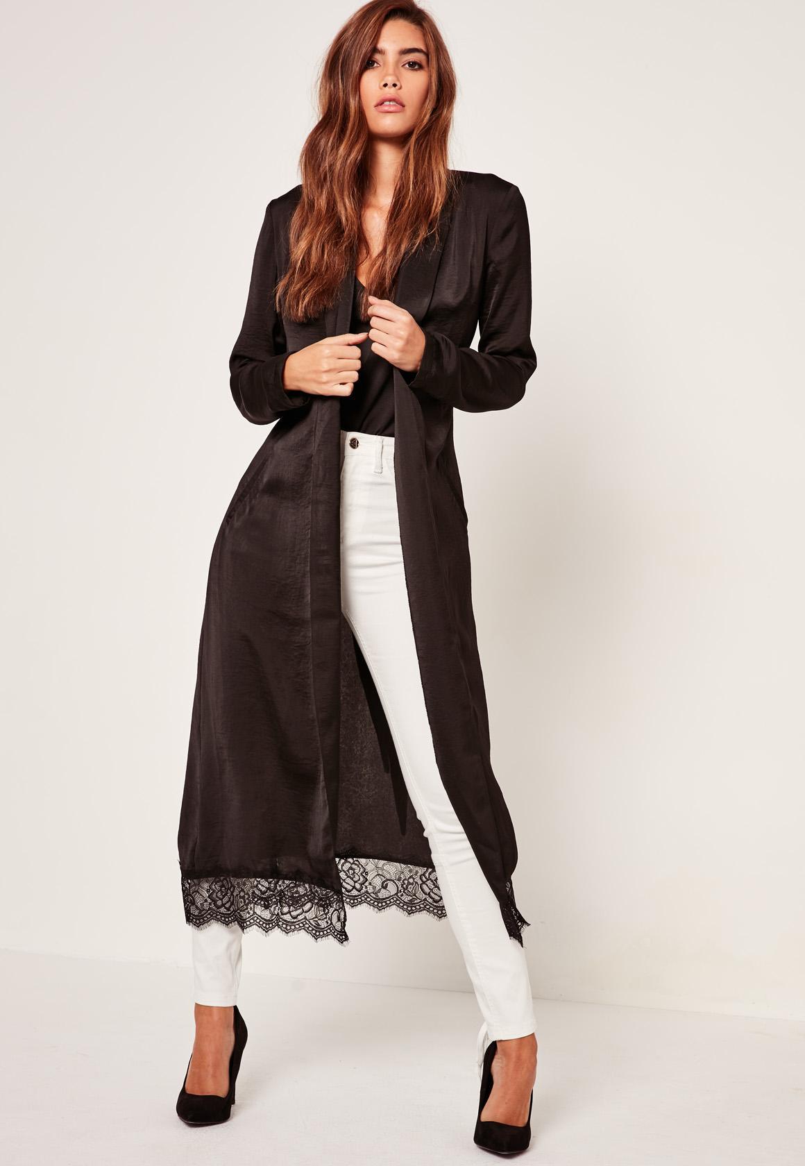 Black Lace Hem Silk Duster Jacket | Missguided