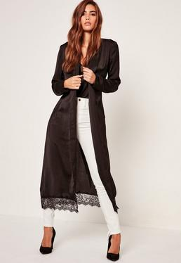 Black Lace Hem Silk Duster Jacket