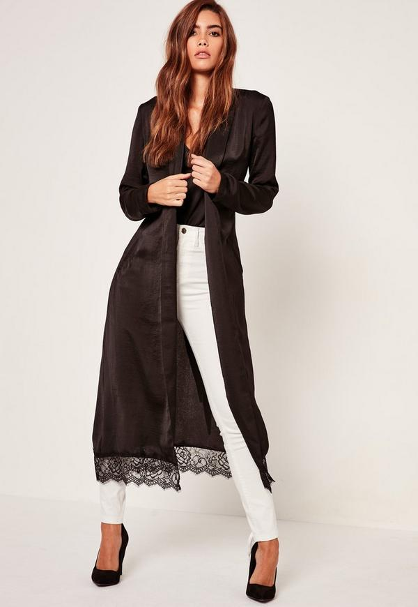Black Lace Hem Silk Duster Jacket