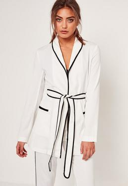 Piped Detail Tie Waist Blazer White