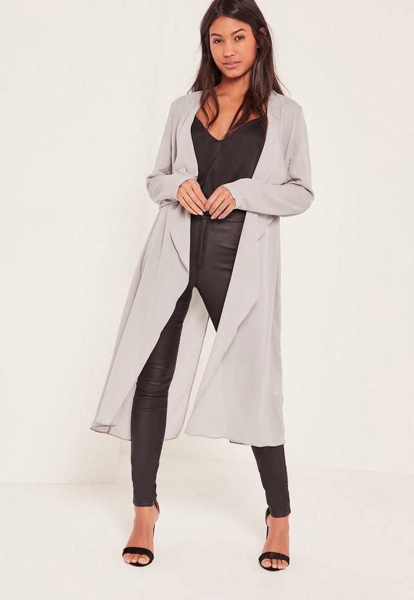 Grey Chiffon Waterfall Duster Jacket