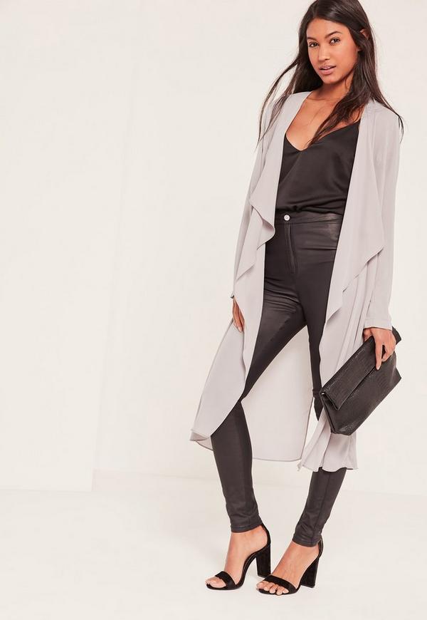 Grey Chiffon Waterfall Duster Jacket | Missguided