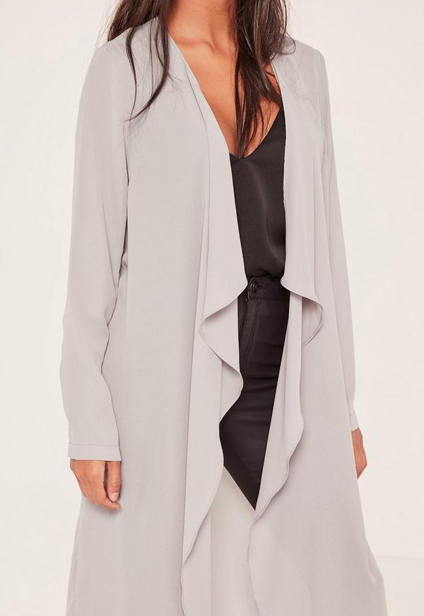 Grey Chiffon Waterfall Duster Jacket | Missguided