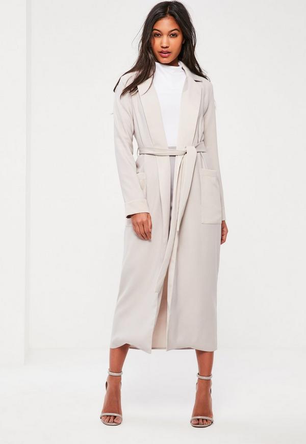 Grey Satin Pocket Detail Duster Coat