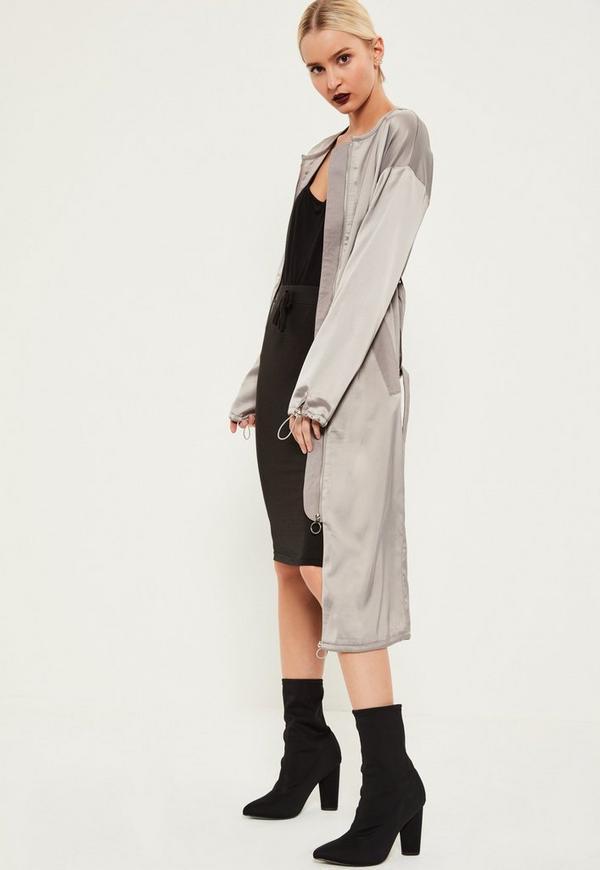 Grey Utility Silky Duster Coat
