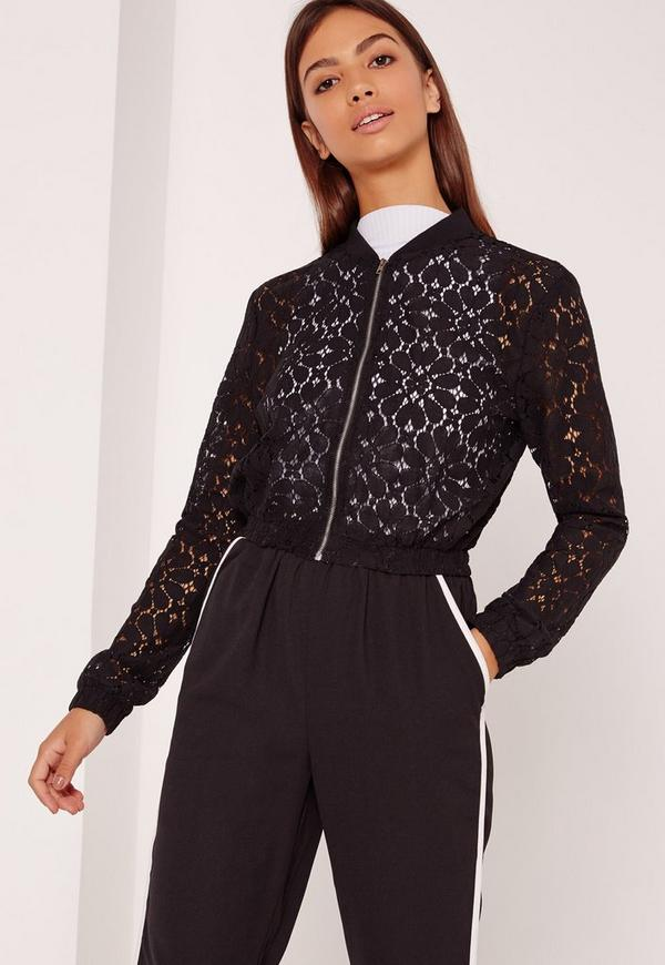 Black Lace Ribbed Detail Bomber Jacket