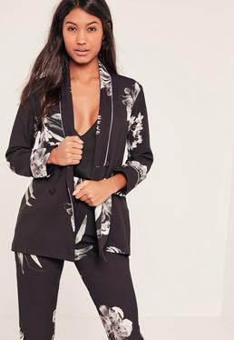 Black Double Breasted Oriental Floral Printed Blazer