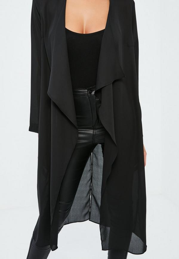 Black Chiffon Waterfall Duster Coat | Missguided