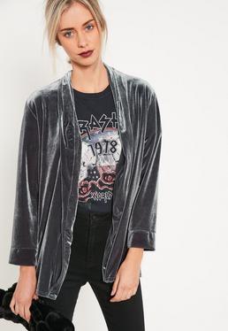 Grey Slouchy Velvet Blazer